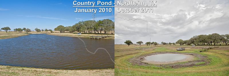 Effect of 2010 - 2011 Drought on Stock Pond,<br /> Nordheim, Texas<br /> near Nordheim, TX