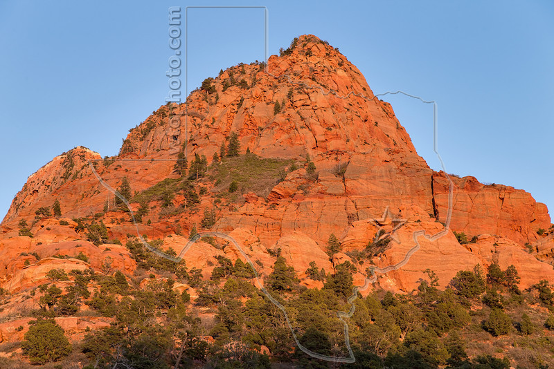 Peaks in Kolob Canyon at Sunset,<br /> Zion National Park, Utah