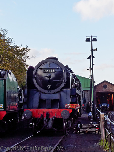 22 Oct 2011 BR Standard Class 9F No 92212 in the shed yard.<br /> The connecting rods and link arms have been removed.