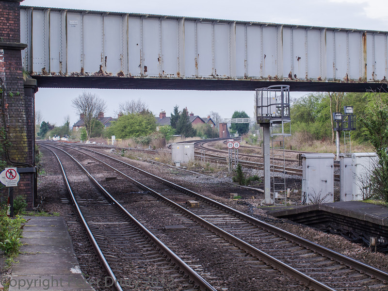 Taken from the south end of Platform 1. The pair of tracks in the foreground lead to Sherburn-in-Elmet. The three tracks sweeping to the right lead to Leeds.