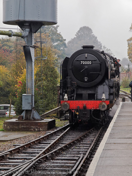 30 Oct 2011 Brittannia approaching the train to take over from Wadebridge for the return journey to Alresford.