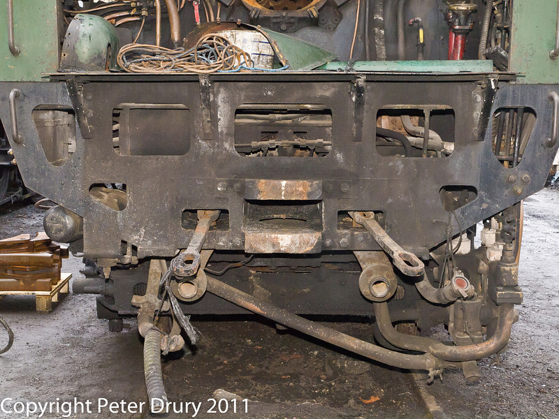 26 January 2011. Ropley:- 35005 Canadian Pacific, Awaiting overhaul.  Copyright Peter Drury 2011<br /> Locmotive/Tender coupling and pipework.