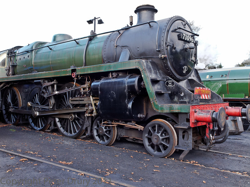 22 Oct 2011 BR Standard Class 5MT No 73096 in the shed yard awaiting overhaul.