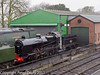 26 January 2011. Ropley:- Engine shed and wheel drop.  Copyright Peter Drury 2011<br /> The engine shed is the green building on the left and the wheel drop is housed in the brick built building on the right. 31806 Class U locomotive is in pristine condition having been through the works. It is in light steam following a boiler check yesterday. A formal boiler inspection is to take place tomorrow.