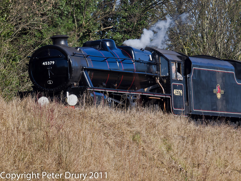 30 January 2011. Alresford - Black 5, 45379.  Copyright Peter Drury 2011<br /> Coasting down the 1/80 gradiant from Ropley.