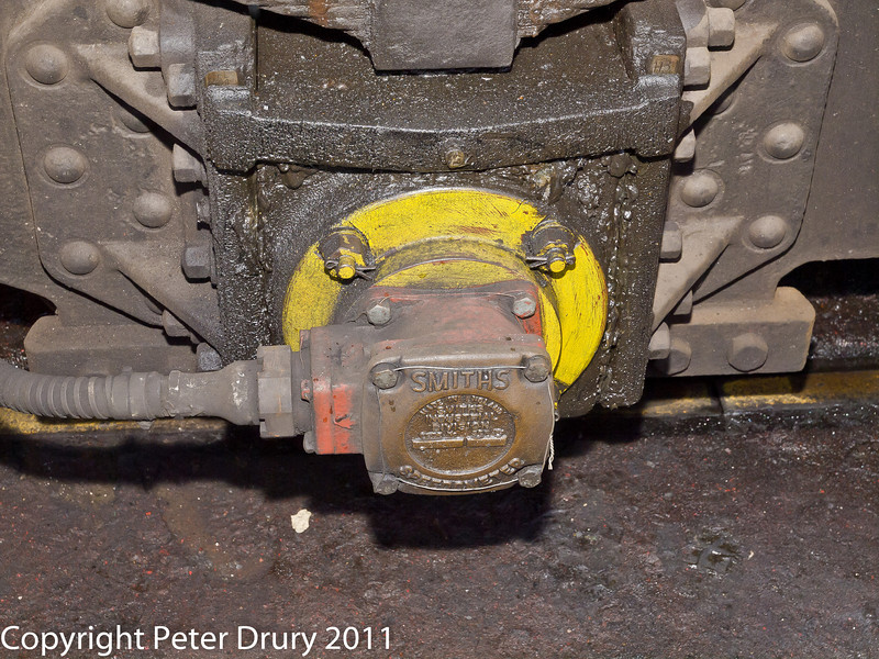 26 January 2011. Ropley:- 92212 BR Standard 9F. Detail shots.  Copyright Peter Drury 2011<br /> Speedometer on tender leading axle