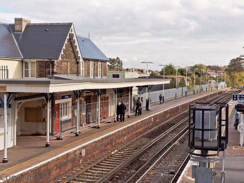 29 Oct 2011 Cosham Station, views from the footbridge.<br /> Station building and canopy over platform 2.