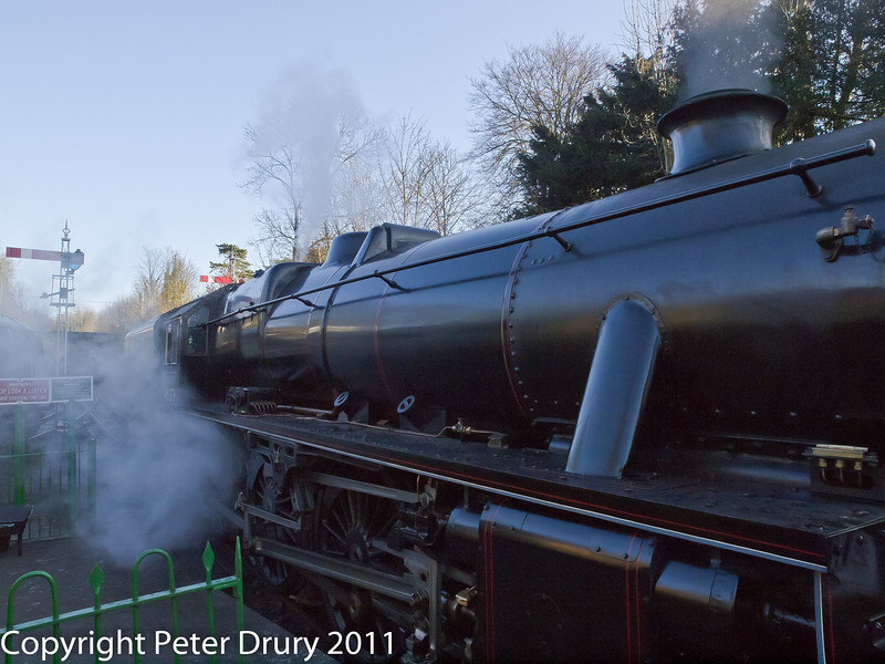 30 January 2011. Alresford - Black 5, 45379.  Copyright Peter Drury 2011<br /> Standing at the platform at the head of the 1500hrs Alton train.