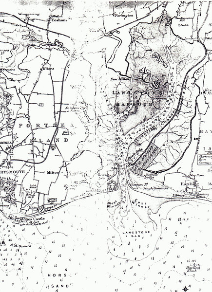 """1850's map of the proposed hayling Railway and docks scheme. An article behind this image may be read by following <a href=""""http://www.haylingbilly50.co.uk/node/97"""">this link.</a>"""