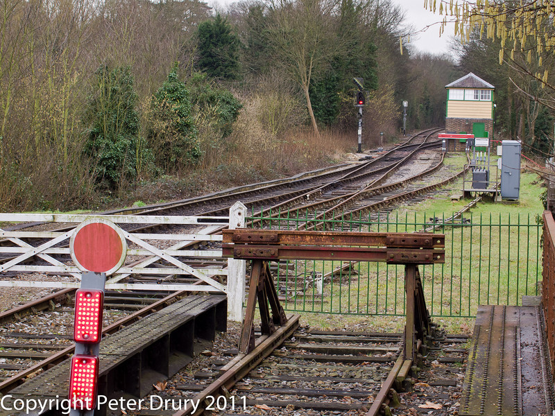 26 January 2011. Alton:- Connection to Mid Hants Railway.  Copyright Peter Drury 2011<br /> Closer view of the rail connection. Extensive re-signalling work has been carried out in the station area on the Mid hants Railway. This work was to allow trains to run off the Network Rail tracks by integrating the signalling. The signal box is owned by the Mid Hants Railway and a ground frame controlling the pointwork can be seen in front and to the right of the signal box.