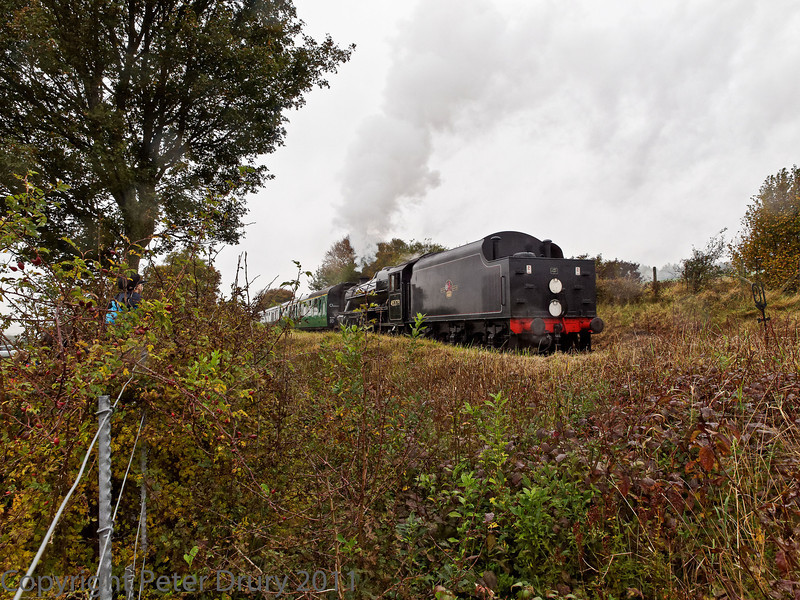 30 Oct 2011 LMS Class 5 climbing the 1 in 80 bank with its service train from Alresford.