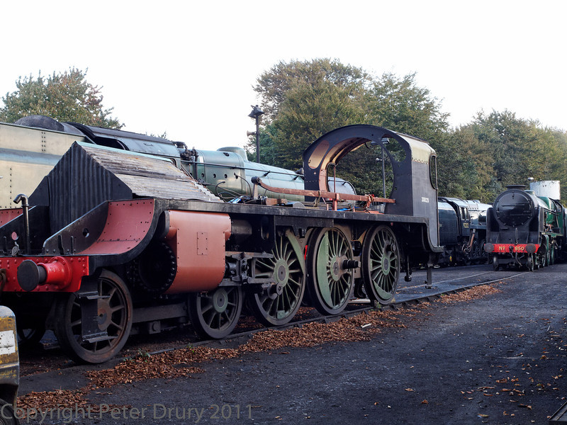 22 Oct 2011 SR Urie Class S15 No 30828 in the shed yard. The boiler is in work during its overhaul at Ropley.