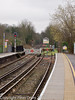 26 January 2011. Alton:- Connection to Mid Hants Railway.  Copyright Peter Drury 2011<br /> Network Rail Platform 1 line to the right with buffer stop and Network Rail Platform 2 line to the left which extends on to the Mid Hants Railway though the gate. The signal FN 104 (at the end of Platform 2) protects this connection.