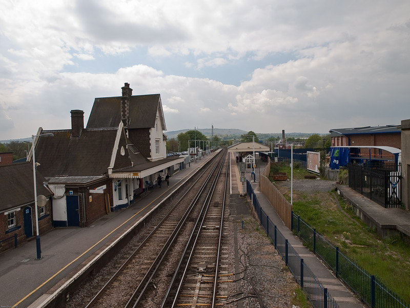 Petersfield Railway Station. Copyright Peter Drury 2010<br /> Overview of the station looking south from the footbridge. The goods yard was to the right and the land is now occupied by a retail outlet as is common around the railway scene.