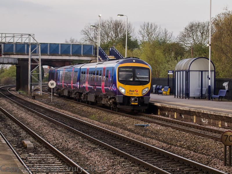 Trans Pennine 185 145 arrives at platform 4 with a Newcastle service.