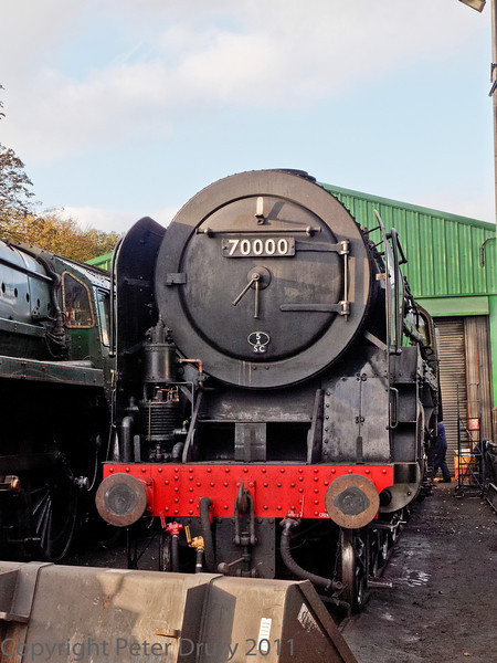 22 Oct 2011 BR Standard Class 7 No 70000 'Britania' in the shed yard.