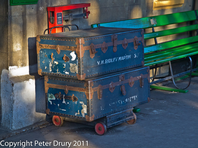 30 January 2011. Alresford - Luggage on scales.  Copyright Peter Drury 2011
