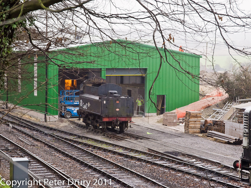 26 January 2011. Ropley:- Carriage and Paint shop.  Copyright Peter Drury 2011<br /> Entrance to the building from the loco yard. The building is still being re-built following the disastrous fire last year. I was told it may be brought into use by the end of February.