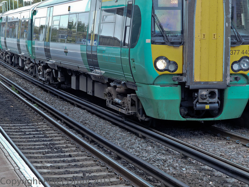 29 Oct 2011 Class 377 EMU on a Brighton to Southampton service.<br /> Coupling and underframe detail.