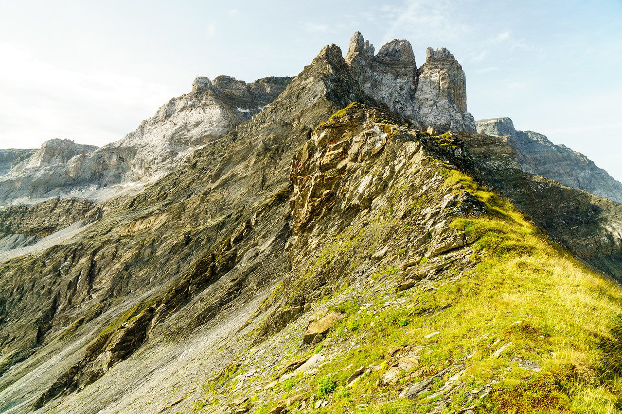 Looking up the ridge from the Mittagshorn, a mountain above Martinsmadhutte and Elm, Switzerland.