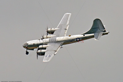 """WB-B-29 0067 Boeing B-29 Superfortress warbird 'DOC"""" banking to land at the 2018 Thunder Over Michigan airshow, by Peter J  Mancus     851_1352     DWT"""