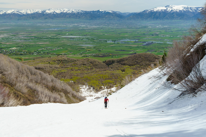 Late spring skiing in the Wellsville Mountains, Logan, Utah.