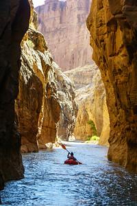 Ryan Choi floats through an early canyon on Muddy Creek in Utah.