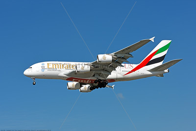 A380 00292 An Airbus A380-800, world's largest two deck jet airliner, Emirates A6-EOL, landing at LAX 11-2017, jet airliner picture by Carl E  Porter     DONEwt