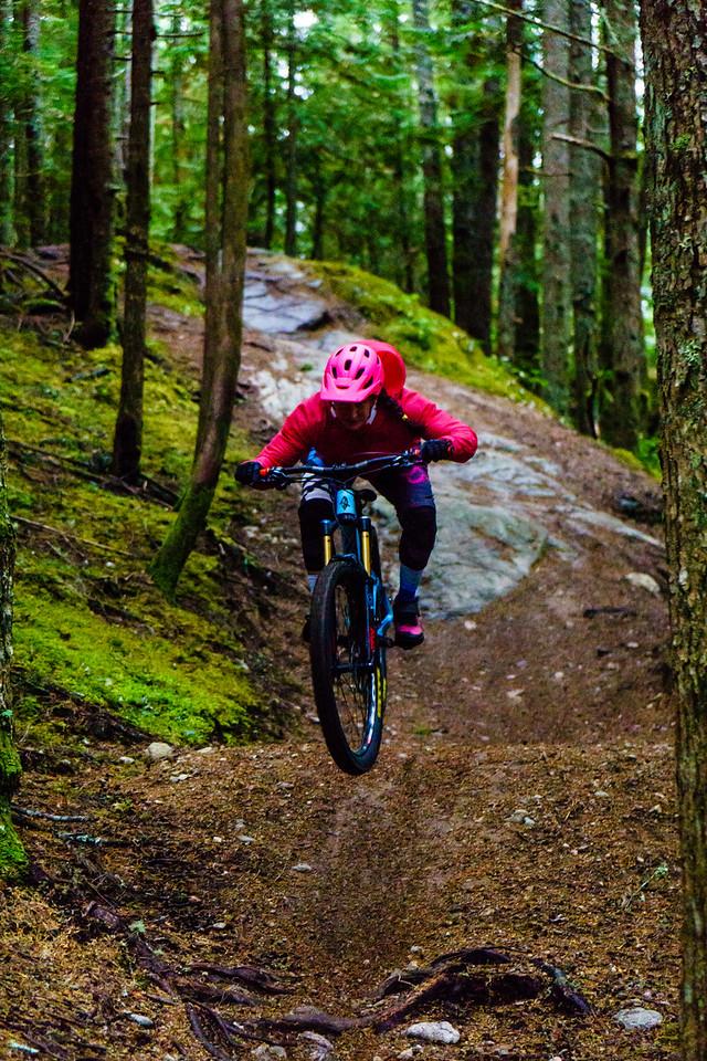 Carolyn Stwertka at the Coast Gravity Park near Sechelt, British Columbia.