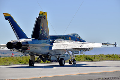 F-18E-USN-VF-105 006 A Boeing F-18E Super Hornet jet fighter USN 166650 VF-105 GUNSLINGERS CAG USS Dwight Eisenhower AC code taxis at NAS Fallon 7-2019, military airplane picture by Peter J  Mancus     854_5129     Dwt