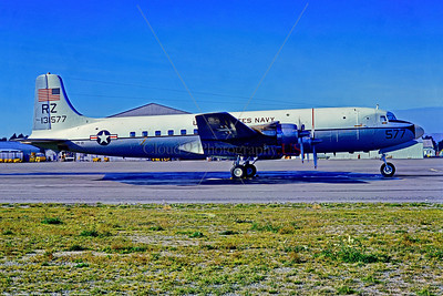 C-118-USN-VR-21 001 A static Douglas C-118B Liftmaster USN 13577, Christchurch NZ 5-1972, military airplane picture by Stephen W  D  Wolf      11A_6059     Dt