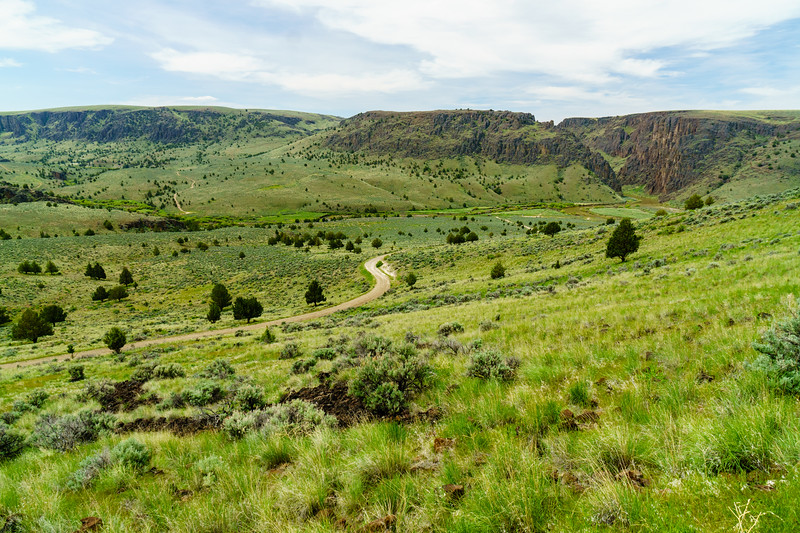 A dirt road and a river; Owyhee Canyonlands on the border of Idaho and Oregon.