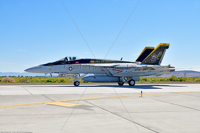 F-18E-USN-VF-105 009 A Boeing F-18E Super Hornet jet fighter USN 166650 VF-105 GUNSLINGERS CAG USS Dwight Eisenhower AC code taxis at NAS Fallon 7-2019, military airplane picture by Peter J  Mancus     852_8404     Dwt