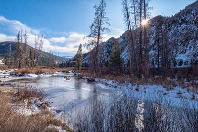 Tennessee Creek Frozen Rocky Mts Sunstar Near Leadville CO  11-3-19