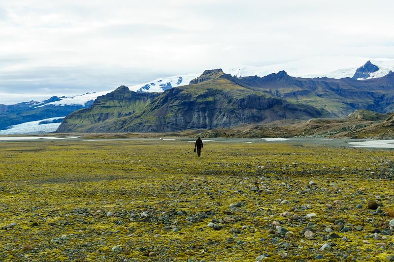Anatole Tuzlak walks back to camp after a few hours up on the glacier near Jokulsarlon, Iceland.