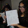 Staff photo by Cathy Spaulding<br /> Indian Capital Technology Center student Yesenia Ochoa shows the resume she had ready Friday for the ICTC career fair.