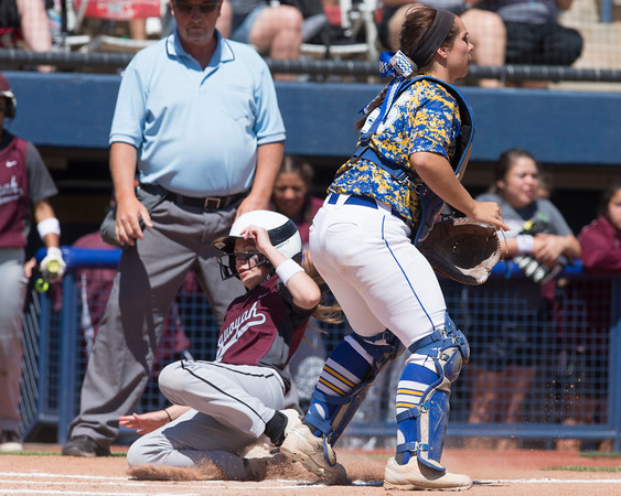 Phoenix special photo by Von Castor<br /> Sequoyah's Mady Arnall slides in safely behind Berryhill's Shelby Harger during Tuesday's Class 5A quarterfinal at ASA Hall of Fame Stadium.