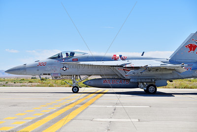 F-18E-USN-VF-131 007 A Boeing F-18E Super Hornet jet fighter USN 168909 VF-131 WILDCATS CAG USS Dwight Eisenhower AC code taxis for take-off at NAS Fallon 7-2019, military airplane picture by Peter J  Mancus     851_9719     Dwt