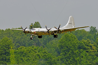 """WB-B-29 0059 A Boeing B-29 Superfortress warbird """"DOC"""", 469972, landing at the 2018 Thunder Over Michigan airshow, by Peter J  Mancus     851_2094     DWT"""