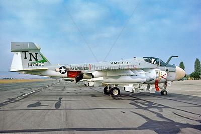 EA-6A-USMC-VMCJ-3 0001 A static USMC Grumman EA-6A Electric Intruder, 147865, tactical ECM warfare support, VMCJ-3 MOON DOGS, TN tail code, MCAS El Toro 10-1974, military airplane picture by Michael Grove, Sr     Dt