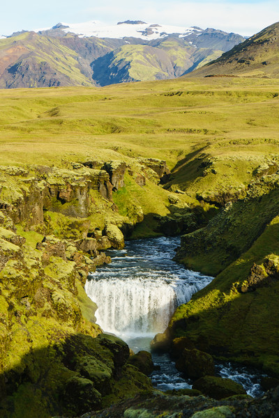 A waterfall above Skogafoss in Iceland.