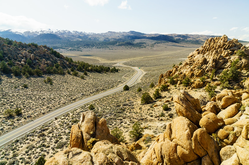 A winding road near the California / Nevada border in the Eastern Sierras.