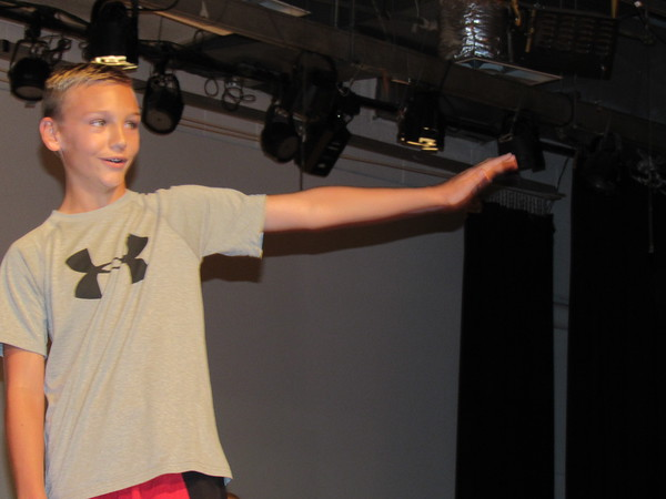 "Staff photo by Cathy Spaulding<br /> Lion cub Simba (sixth-grader Seth Rowan) boasts about all he'll get to rule when he becomes ""The Lion King."" Simba's musical story will be told by Fort Gibson Middle School."