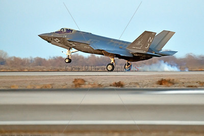 F-35USN-VFA-101 0002 A Lockheed Martin F-35C USN stealth jet fighter VFA-101 GRIM REAPERS NJ code lands at NAS Fallon 12-2017 military airplane picture by Peter J  Mancus     DONEwt