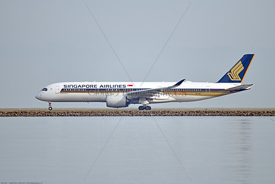 A350 0003 An Airbus A350-900 Singapore Airlines 9V-SMO on SFO's runway ready for take-off, 12-2017, jet airliner picture by Peter J  Mancus     DONEwt