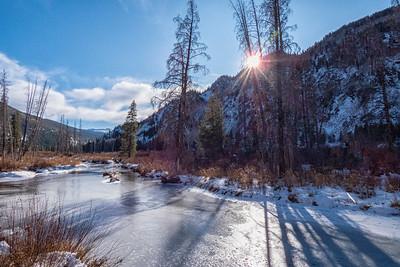 Tennessee Creek Sunstar Frozen Rocky Mts Near Leadville CO  11-3-19