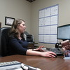 Staff photo by Cathy Spaulding<br /> Bacone College valedictorian Caitlin Thomas already has her career in gear as she works at the Bethany Bowline CPA office. She lives in Fort Gibson, where she grew up.
