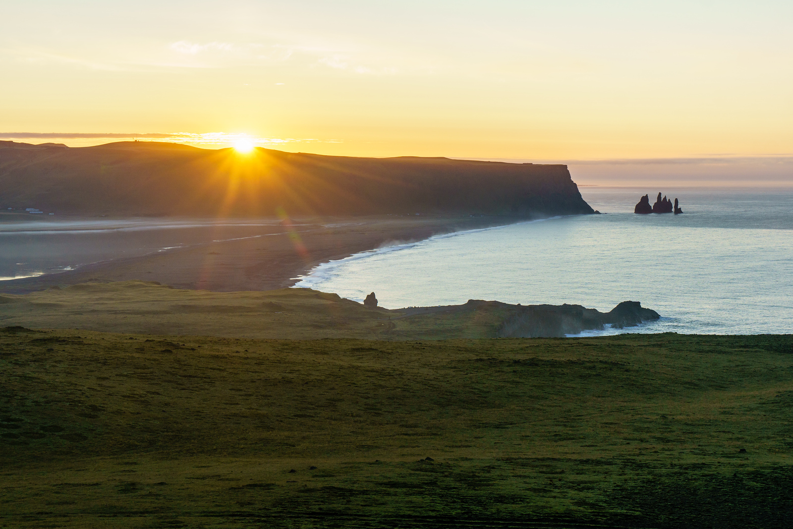 Sunrise at Dyrhólaey near Vik, Iceland.