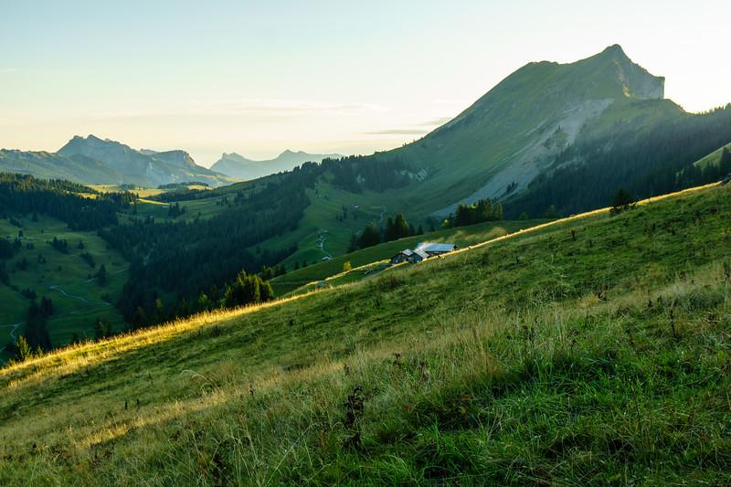 An idyllic Swiss cabin on the far side of the ridge behind Interlaken, Switzerland.