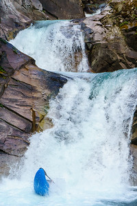 Logan Grayling at the bottom of the triple drop on Rogers Creek in British Columbia.